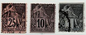 1881-86-FRANCIA-COLONIE-EMISSIONI-GENERALI-COMMERCIO-3-VALORI-USATI
