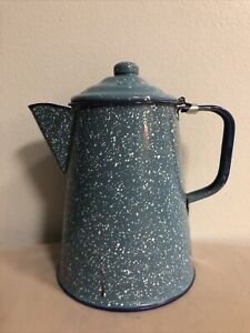 NEW-Enamel-Blue-w-White-Specks-Coffee-Pot-Cobalt-Blue-Trim-Speckled-Camping