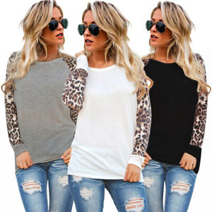 Womens-Tee-Blouse-Ladies-Long-Sleeve-Leopard-Shirt-Patchwork-Basic-Casual-Tops