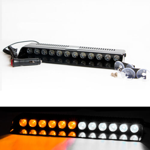 12 LED Emergency Warning Strobe Light Bar Flash Dash Deck Car Visor AMBER WHITE