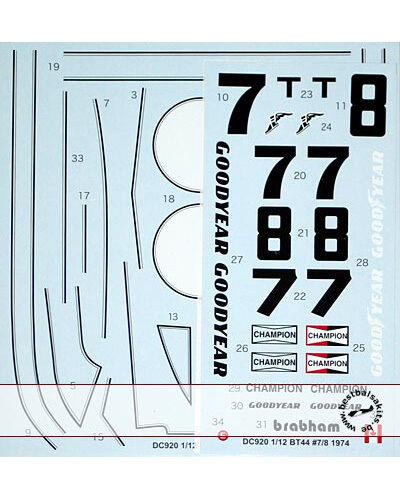 STUDIO27 BT44 US GP 1974 WATKINS GLEN DECAL för TAMIYA 1 12 BRABHAM BT44B