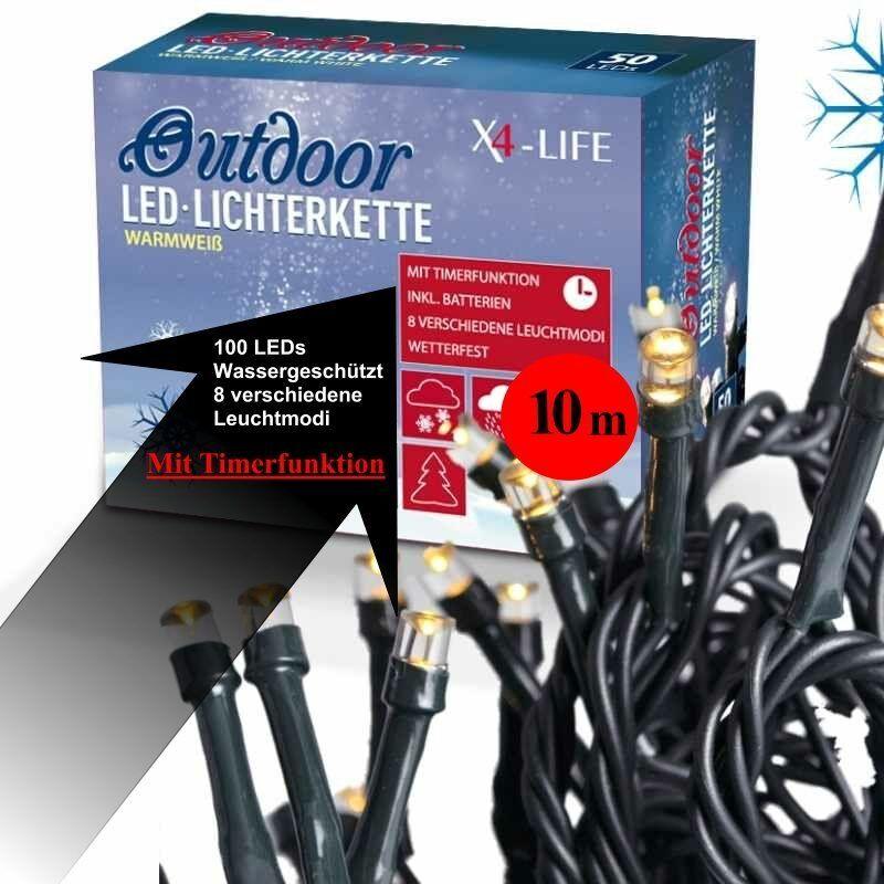 X4-LIFE Outdoor LED Lichterkette warmweiß 10 10 10 m mit 100 LEDs und Timerfunktion  | Sonderkauf  48fc54