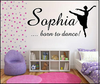 CHILDRENS WALL ART STICKER QUOTE ~ PERSONALISED DANCE ~ GIRLS BEDROOM NURSERY