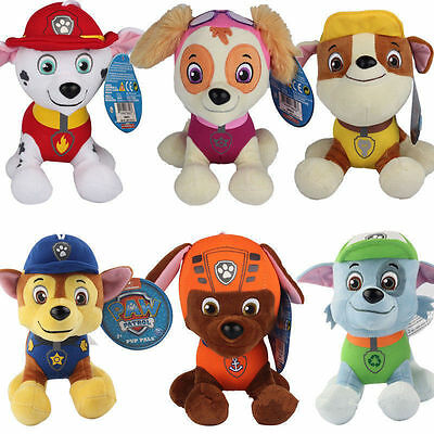 PAW PATROL COMPLETE SET of 6 Cute Dogs plush Doll Dog Toy Chase Zuma 20CM