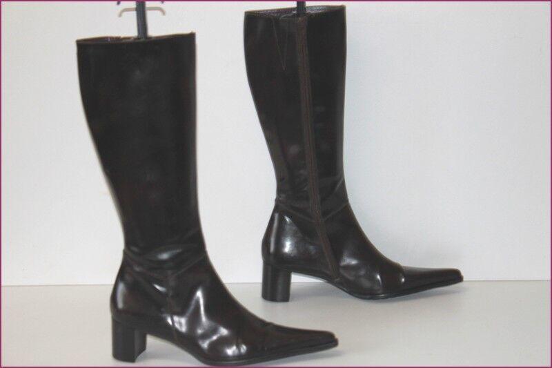 MURATTI Stiefel spitz Leder Optik Eis braun sehr dunkel t 39 seht guter Zustand