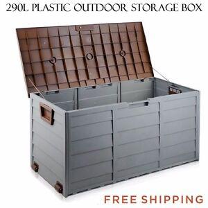 Plastic-Storage-Box-Container-290L-Wheels-Outdoor-Weatherproof-Garden-Shed-Patio