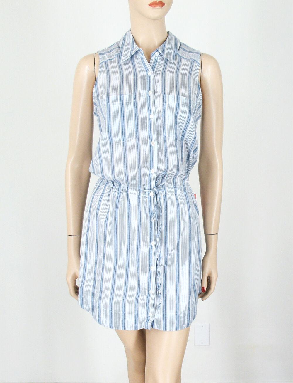 Paige Denim Yvonne Striped Shirt Dress Cotton Blau Weiß XS  9664 BM14