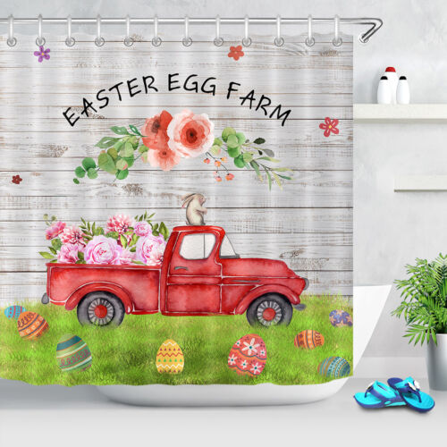 Wood Plank Easter Egg Farm Truck Flowers Shower Curtain Bathroom Accessory Sets