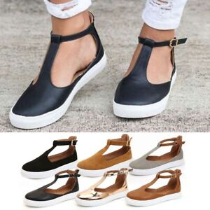 Womens-Summer-T-Strap-Pumps-Flat-Sandals-Ankle-Buckle-Holidays-Beach-Shoes-Sizes