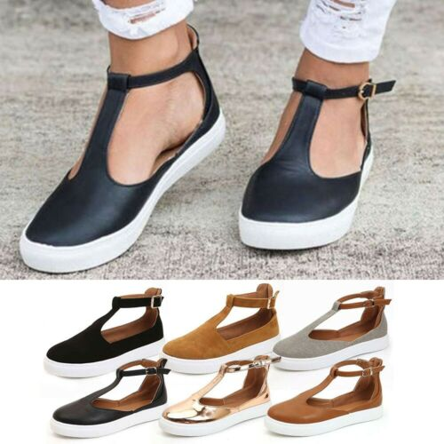 Womens Summer T-Strap Pumps Flat Sandals Ankle Buckle Holidays Beach Shoes Sizes