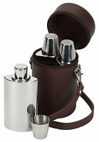 3 Stainless Steel Hip Flasks & Drinking Cups With Leather Carrier & Free Funnel