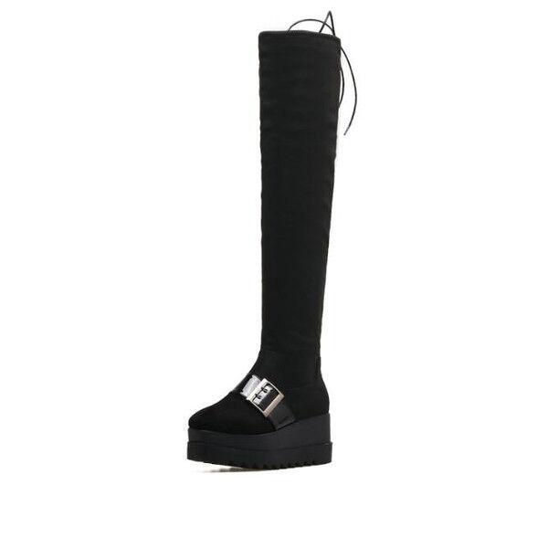 stiefel up knie plattform 7 cm keilabsätze schwarz elegant simil leder 9529