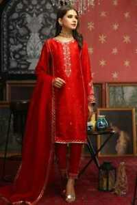 Women Pakistani Designer Dupatta Salwar Kameez Red Embroidery Palazzo Kurta Top
