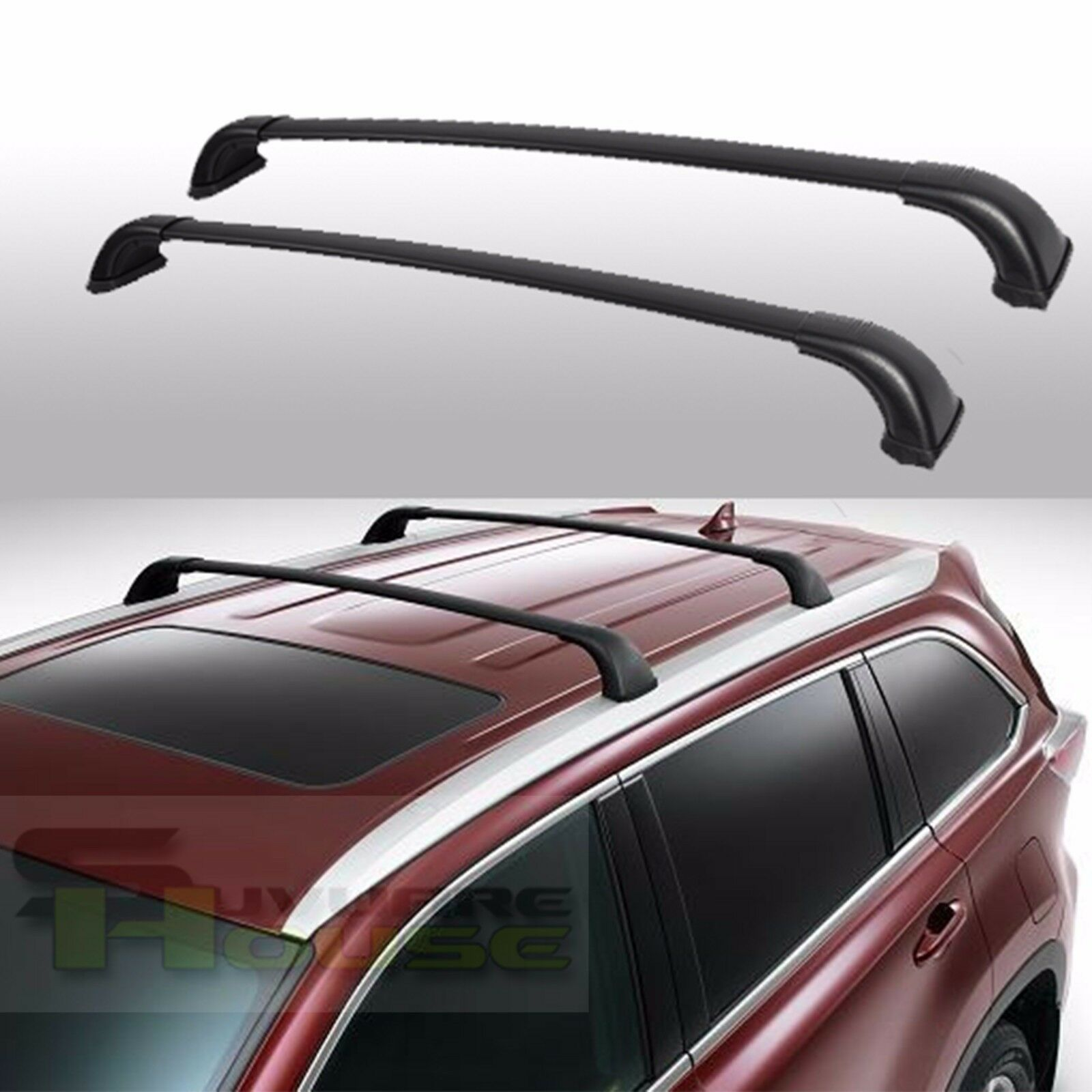 Details About For 14 18 Toyota Highlander Xle Limited Aluminum Black Roof Rack Cross Bar