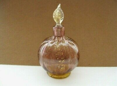 Delicate pink glass bottle with stopper