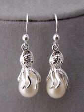 925 sterling Silver Octopus Freshwater Pearl Earrings Drop Dangle Jewelry NEW
