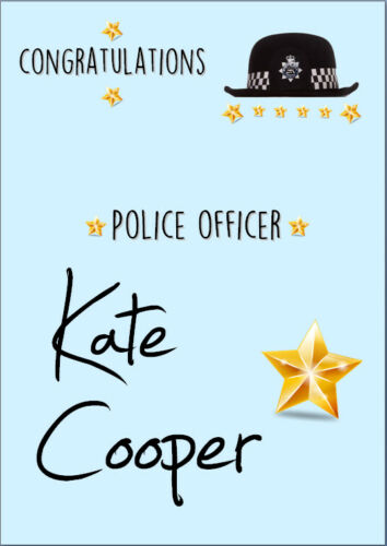 Congratulations Police Officer Card A5 Personalised with own words Female Woman