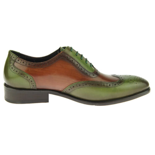 a fatta classiche Scarpe Scarpa brogue classiche verde uomo Oxford e mano marrone uomo Wingtip BnqRq0wYp