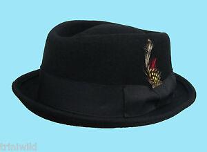 Caricamento dell immagine in corso Classico-Nero-Cappello-Pork-Pie-100- Cappello-di- 35290591c138