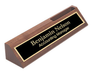 Personalized walnut name plate bar w business card holder office image is loading personalized walnut name plate bar w business card colourmoves