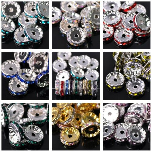 30pcs 12mm Rondelle Czech Glass Crystal Rhinestones Metal Loose Spacer Beads Lot