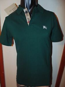 Burberry brit mens forest green short sleeve nova check for Forest green polo shirts