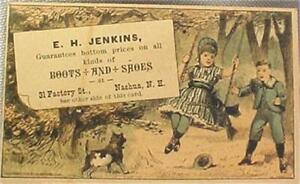 Victorian-Trade-Advertising-Card-E-H-Jenkins-Boots-Shoes-Nashua-New-Hampshire