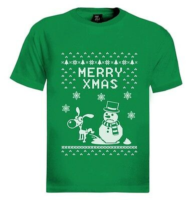 Merry Xmas Sad Yellow Snowman T-Shirt Filthy Animal Ugly Christmas Sweater Party