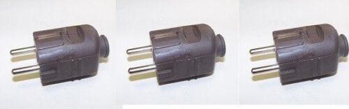 Schutzkontakt - Stecker Kabel Leitung braun 3 Stück  REV Ritter 12011