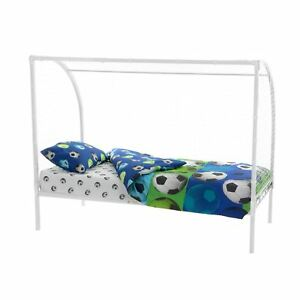 Kids-3ft-Single-Football-Goal-White-Metal-Bed-Frame-With-Net-For-Ages-4