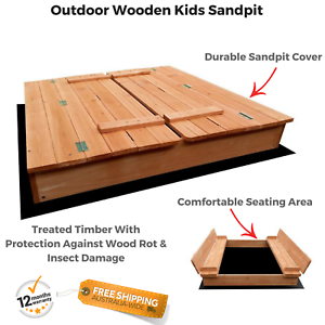 Kids Wooden Sandpit Cover Bench Seat Ball Sand Pit Sandbox