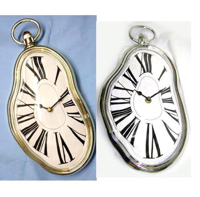 Novelty Surreal Melting Wall Clock Surrealist Salvador Dali Style Gold Silver