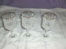 "3 Cristal D' Arques 24% Lead Crystal  Longchamp 7-1/4""  WATER Glasses GOLD RIMS"