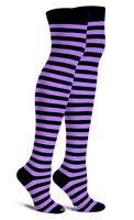 Purple N Black Thigh High Striped Cotton Socks Rave Emo