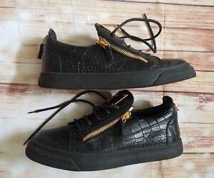 7aaba145b66e3 GIUSEPPE ZANOTTI Croc Effect Low Top Leather Sneakers Black Size 42 ...
