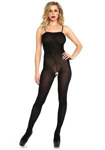 Leg-Avenue-8208-Catsuit-36-42-body-Stocking-negro-S-L-paso-abierto-medias-Hot