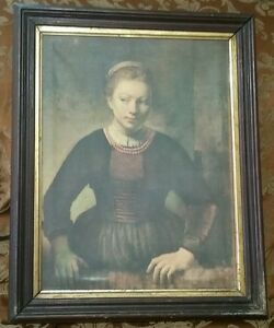 Antique Framed Rembrandt Girl At Open Half Door Picture Art