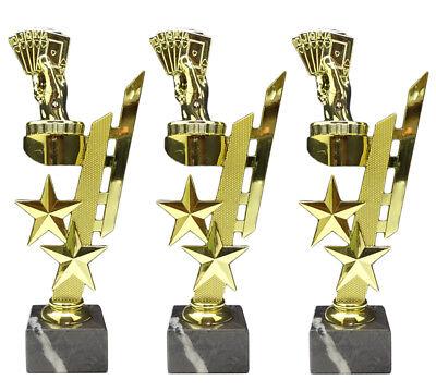 mit Ihrer Wunschgravur 3er-Serie Poker//Skat-Pokale Sternenhalter