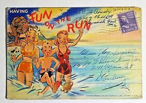 Ephemera-Fold-out-Postcards-Having-Fun-on-the-Run-Humor-Funny-Cartoon-1942
