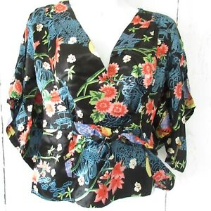 New-Angie-Top-S-Small-Black-Asian-Floral-Print-Wrap-Kimono-Sleeve