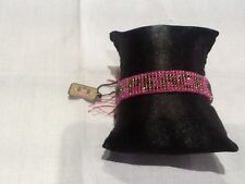 """NWT Juicy Couture New & Gen. Pink & Green Seed Bead """"PEACE"""" Friendship Bracelet"""