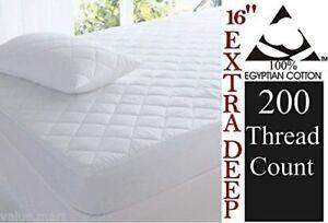 Nuevo-algodon-egipcio-de-lujo-Extra-Profundo-Acolchado-Protector-de-colchon-Falda-40-Cm