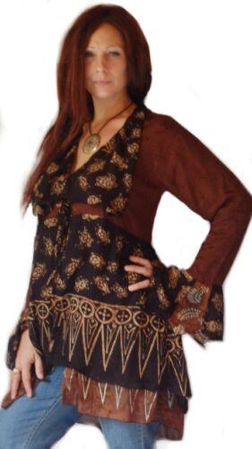 black brown jacket top long sleeve two layers edwardian boho ties batik