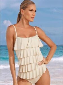 c1edda7c594ea NWT $120 MICHAEL KORS 4 RUFFLE TIERED Sand Shell One Piece Swimsuit ...