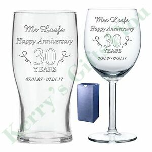 Image is loading Wedding-Anniversary-Wine-Pint-Beer-Glass-Gift-Engraved-