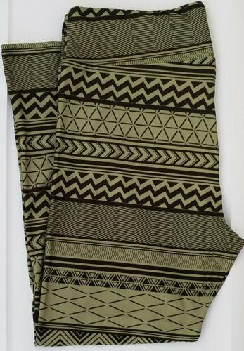 TC LuLaRoe Tall Curvy Leggings Tribal Aztec Stripes Green Black NWT 552