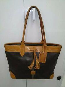 Dooney-amp-Bourke-Vintage-Black-Brown-Leather-Large-Tote-Shoulder-Bag-Purse