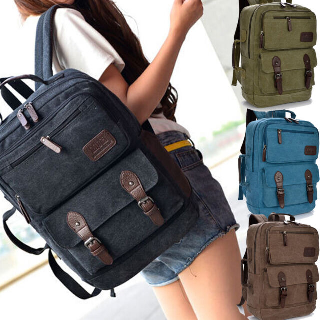 Vintage canvas Briefcase School Camping bag Men Messenger Laptop Backpack