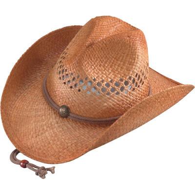 Chin Strap Silver Canyon Natural Raffia Straw Cowboy Western Sun Hat