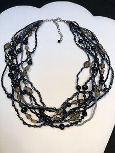 Vintage Boheniman Topaz Black Brown Glass Seed Bead Multi Strand Necklace Boho